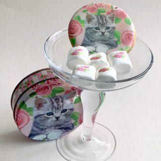ネコクッキー&薔薇マシュマロ丸缶