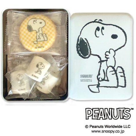 PEANUTS クッキー&マシュマロ白缶 H